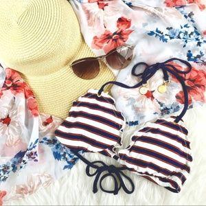 Sperry Nautical Patriot Ruffle Stripe BikiniTop XS